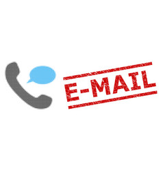 textured e-mail seal and halftone dotted phone vector image