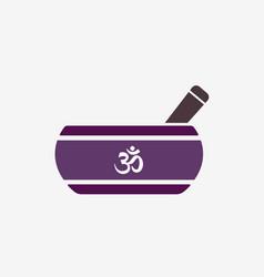 Tibetan singing bowl flat icon with om symbol vector