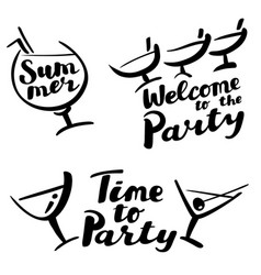 Time to party and welcome to the party hand drawn vector
