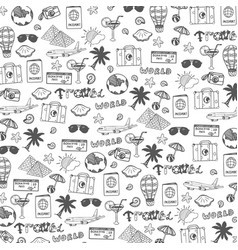 travel hand-draw doodle backround tourism and vector image