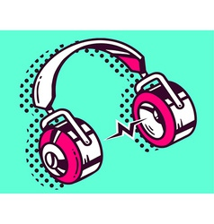White and red headphone on green backgrou vector