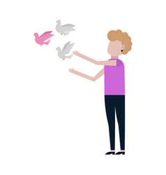 woman releases dove icon vector image
