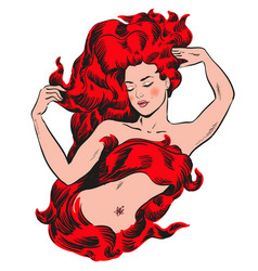 woman with red hair on fire vector image