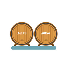 wooden barrels aging wine process winery vector image
