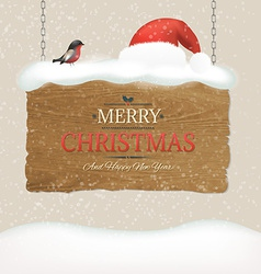 Wooden Sign With Snow And Bird vector image