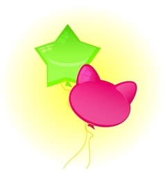 balloons in the form of a star and cat vector image