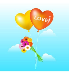 Balloons With Bunch Of Daisies vector image