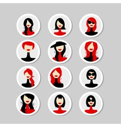 Cards with woman faces for your design vector image