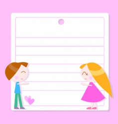 note paper with cartoon kids vector image vector image