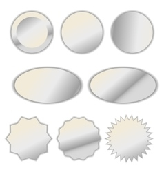 Pearl white foil label sticker set vector image vector image