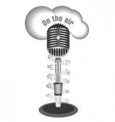 antique microphone with music note vector image