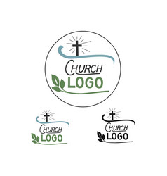 church logo with cross and leaves vector image