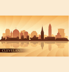 cleveland city skyline silhouette background vector image