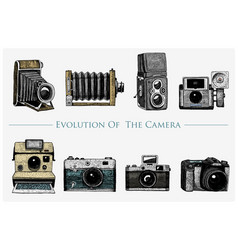evolution of the photo video film movie camera vector image