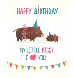 Little Piggy and Mother Birthday Greeting Card vector image