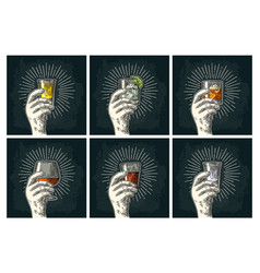 male hand holding glass brandy tequila gin vector image vector image