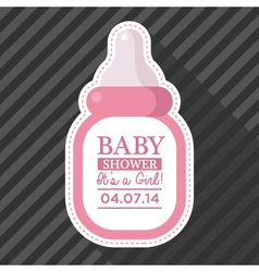 Pink Baby Bottle Card vector image