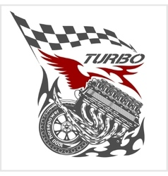Vintage Engine Checkered Flags Racing vector image