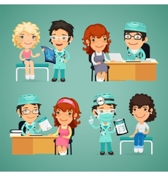 Women Having Medical Consultation in Doctors vector image