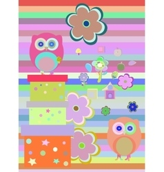 Background with flower owls and gift boxes vector image vector image