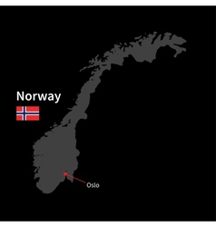 Detailed map of norway and capital city oslo with vector