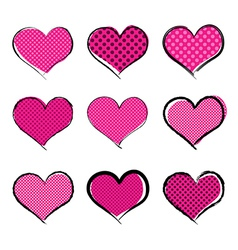 Halftone style hearts collection vector image vector image