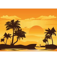 Palm tree at sunset5 vector