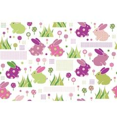rabbits flora pattern vector image