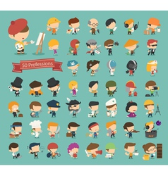 Set of 50 professions vector image vector image