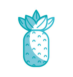 Silhouette delicious pineapple fruit to healthy vector