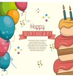 cake sweet balloons happy birthday desing isolated vector image vector image