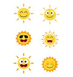 happy sun cartoon collection set vector image vector image