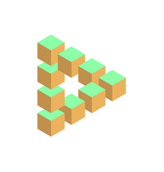 Impossible triangle in three different colors 3d vector