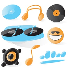 Smooth dj icons vector image vector image
