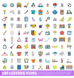 100 lessons icons set cartoon style vector