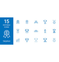 15 trophy icons vector