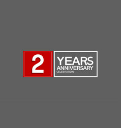 2 years anniversary in square with white and red vector