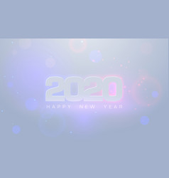 2020 happy new year glow text design greeting vector image