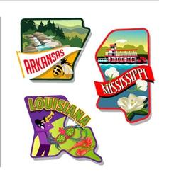 Arkansas mississippi louisiana luggage stickers vector