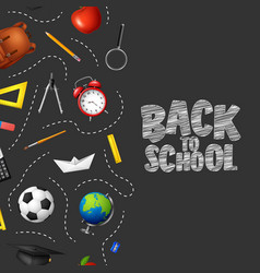 back to school in chalkboard background vector image