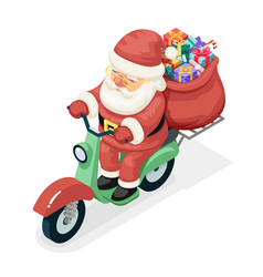 bag gift box santa claus delivery courier scooter vector image