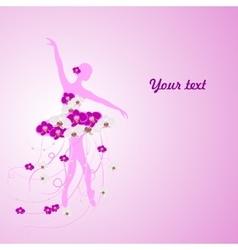 Beautiful background with tender ballerina in vector