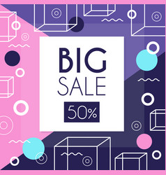 Big sale 50 percent off banner template design vector