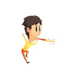 Black Hair Male Character With Firecracker vector