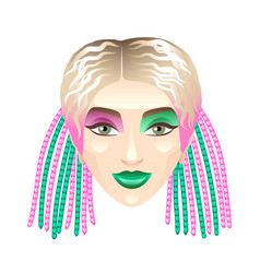 Blonde girl with colorful pigtails isolated vector