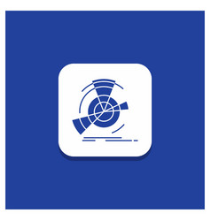 blue round button for data diagram performance vector image