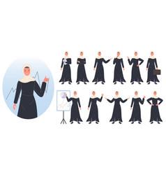 Business woman arab character avatar design set vector