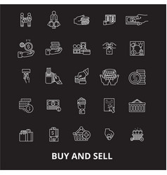 buy and sell editable line icons set on vector image