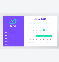 calendar day planner and calendar app ui ux design vector image
