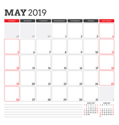 Calendar planner for may 2019 week starts on vector